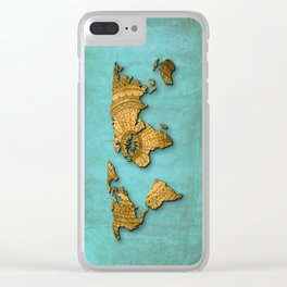 Vintage World Map on Jade Dragon Teal Clear iPhone Case