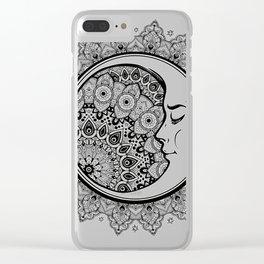 Moon on Mandala Clear iPhone Case