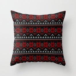 Scandinavian knitting Christmas ugly sweater ornamental decor Throw Pillow