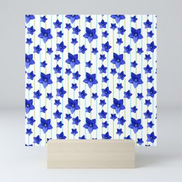 Flowers and Color Lines - Navy Blue Mini Art Print