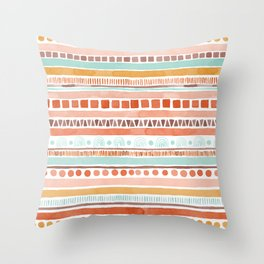 Boho Stripes - Watercolour pattern in rusts, turquoise & mustard. Nursery print Throw Pillow