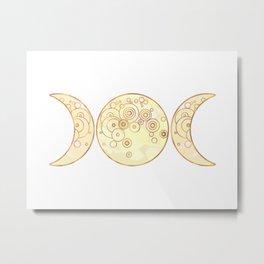 Triple Moon - Golden Metal Print