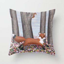 fox and squirrel Throw Pillow
