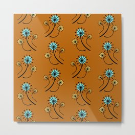 Mid Century Modern Dandelions on orange Metal Print