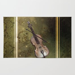 Wonderful violin with clef and key notes Rug