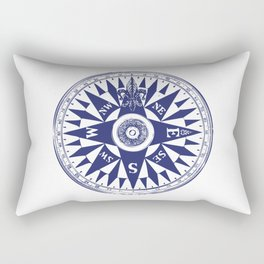 Nautical Compass | Vintage Compass | Navy Blue and White | Rectangular Pillow