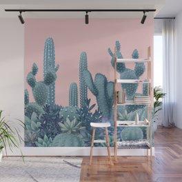Milagritos Cacti on Rose Quartz Background Wall Mural