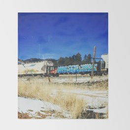 Blue Graffiti Throw Blanket
