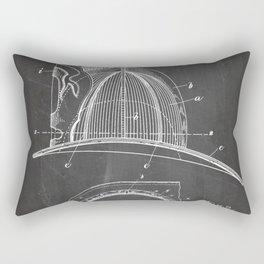 Firemans Helmet Patent - Fireman Art - Black Chalkboard Rectangular Pillow