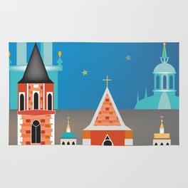 Krakow, Poland - Skyline Illustration by Loose Petals Rug