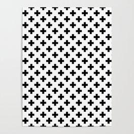 Black Crosses on White Poster