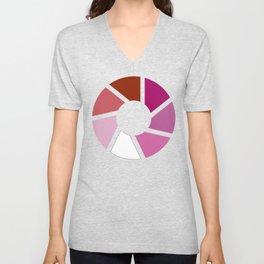 Lesbian Pride Flag Circle Unisex V-Neck
