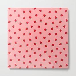 Strawberries in Pink Metal Print