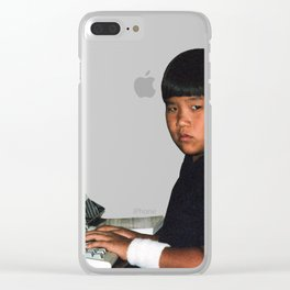 Hardcore coder with wrist band Clear iPhone Case