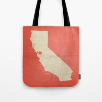 san francisco map Tote Bags featuring San Francisco by Fercute