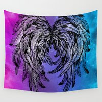 angel wings Wall Tapestries featuring Galaxy Angel Wings by Mad Love