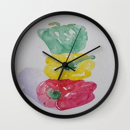 Stacked Peppers Wall Clock