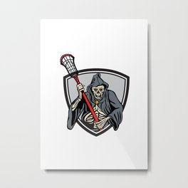 Grim Reaper Lacrosse Player Crosse Stick Retro Metal Print