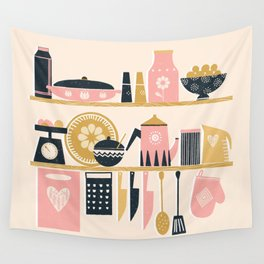 Colorful Cooking In A Mid Century Scandinavian Kitchen Wall Tapestry