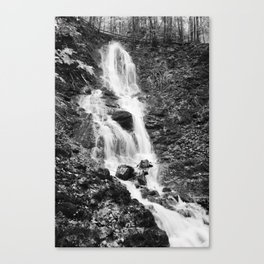 Wasserfall Flintsbach an der Burgruine Falkenstein schwarz weiß Foto Canvas Print