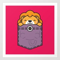 pocket Art Prints featuring Pocket Lion by Steven Toang