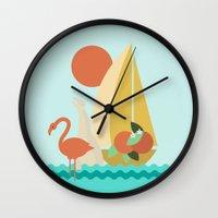 florida Wall Clocks featuring Florida by Tank Top Sunday