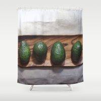 avocado Shower Curtains featuring Avocado Love  by The Avant-Garden