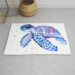 Blue Purple Sea Turtle, Turtle for nursery Rug