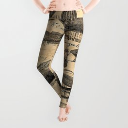 Vintage Hot Air Balloon Study Leggings
