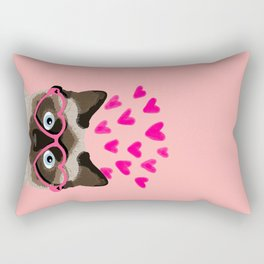 Siamese Cat valentines day gift for cat lady love heart romantic kitten pet friendly present for her Rectangular Pillow