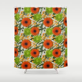 Bright and Bold Retro Seamless Repeating Pattern Shower Curtain