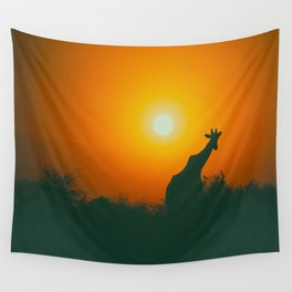 Lonely Sunset Giraffe Wall Tapestry