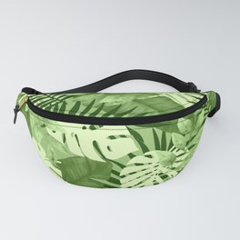 Green Tropical Leaves Pattern Fanny Pack