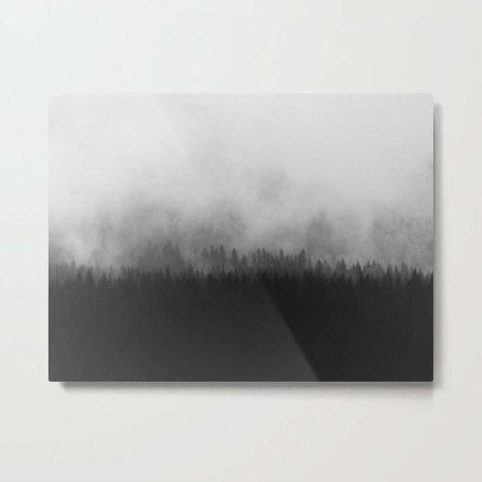 Minimalist Modern Black And White Photography Landscape Misty Pine Forest Watercolor Effect Sp Metal Print By Enshape Society6
