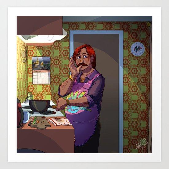 Zumavel e zumi (Tasting the soup) Art Print