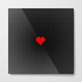 Pixel Love (red square heart on black) Metal Print