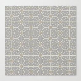 Mindful gray Japanese Asanoha (Hemp) pattern Canvas Print