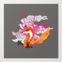 kitsune Canvas Prints featuring Kitsune by Mazuki Arts