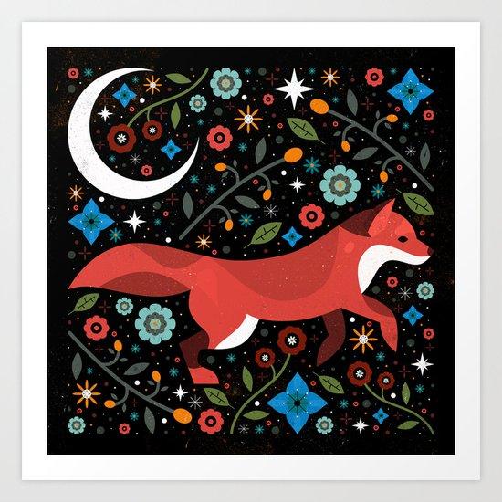 Flame Fox Art Print