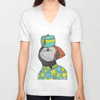 puffin V-neck T-shirts featuring Fancy Puffin by Sharon Mann