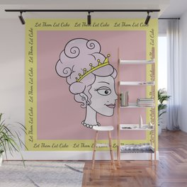 Let Them Eat Cake (pink with yellow border) by Blissikins Wall Mural