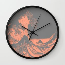 The Great Wave Peach & Gray Wall Clock