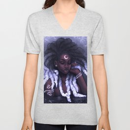 His Afrofutro Moon Unisex V-Neck