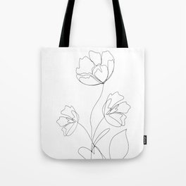Poppies Minimal Line Art Tote Bag