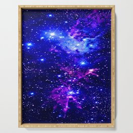 Fox Fur Nebula Galaxy blue purple Serving Tray