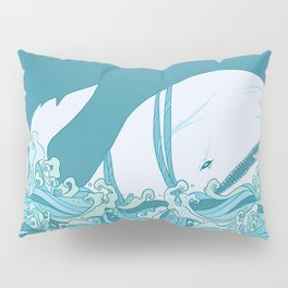 Moby Dick Illustration Pillow Sham