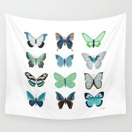 Green and Blue Butterflies Wall Tapestry