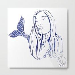 Blue Mermaid Metal Print