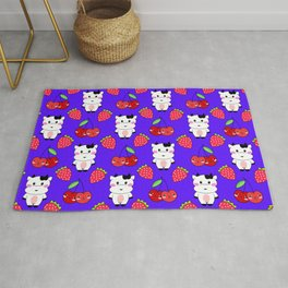 Cute funny sweet adorable happy baby cows, little cherries and red ripe summer strawberries cartoon fantasy blue purple pattern design Rug