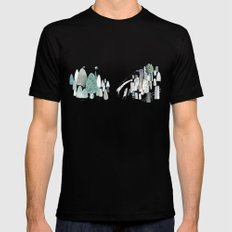 Mountains and the city Mens Fitted Tee Black MEDIUM